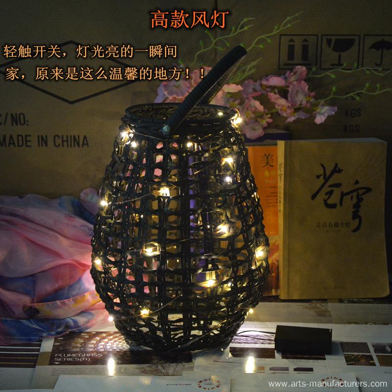 Round Weaving Plastic Rattan Led Lantern