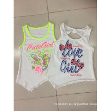 2016 moda infantil roupas em menina sem mangas t-shirt para o verão (sv-017-019)