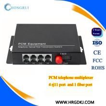 4 Kanal PCM Konverter Töpfe (Rj11) Telefonleitung über Glasfaser-Konverter