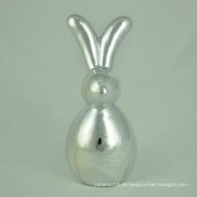 Galvanisches buntes keramisches Kaninchen mit langen Ohren