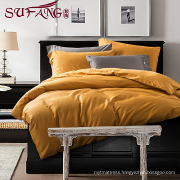 High Quality Hotel Bedding Linen Supplier 100% Cotton60s Plain orange yellow Bed Sheets Set