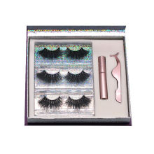 SL009H Hitomi Mink Strip Eyelashes Private Label soft natural Fluffy 25mm Magnetic Eyelashes with Eyeliner and tweezers