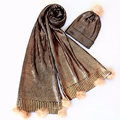 Womens Unisex Gold Silver Foil Shining Knitted Winter Warm Beanie Set Scarf (SK141S)