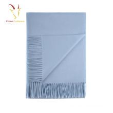 Mens Blue Italian Cashmere Scarf With Fringe