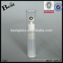 Botella cosmética clara 10ml con el rodillo de acero, botella cosmética del ojo plástico, rollo plástico del cuidado de piel en la botella
