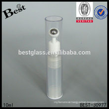 10ml clear cosmetic bottle with steel roller, plastic eye cosmetic bottle, skin care plastic roll on bottle