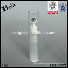 10ml clear cosmetic bottle with steel roller, plastic eye cosmetic bottle, skin care plastic roll on bottle