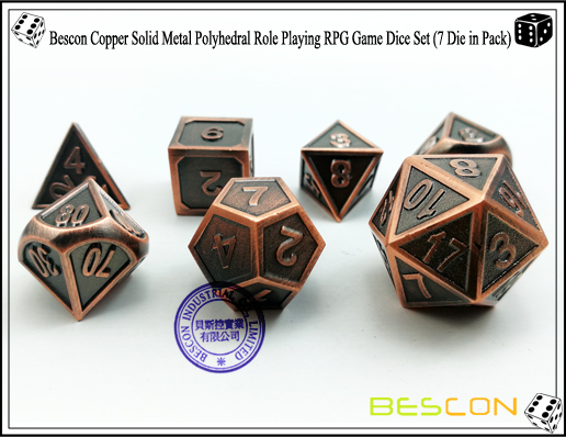 Bescon Copper Solid Metal Polyhedral Role Playing RPG Game Dice Set (7 Die in Pack)-4