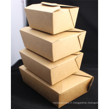 Boîte de papier de nourriture de Kraft jetable adaptée aux besoins du client