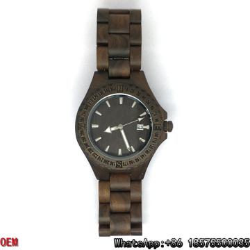 Montres en bois de qualité supérieure, montre à quartz, montre de date Hl06