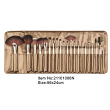 21pcs ivory plastic handle animal/nylon hair makeup brush tool set with golden brown satin case