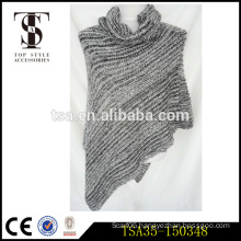 party-ready grey knitted ladies poncho shawl with round collar fashion scarves