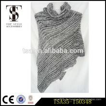 Party-Ready grau gestrickte Damen Poncho Schal mit runden Kragen Mode Schals