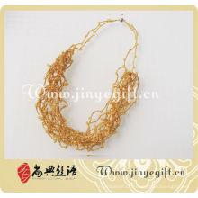 Handwerk Schmuck Kristall Bead Gold Hand gemacht Crochet Halskette