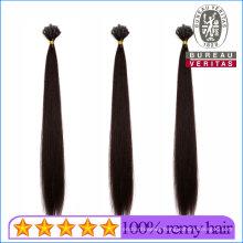 Silk Straight Natural Long 18inch Remy Human Virgin Hair Extension V Tip Hair