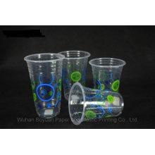 Copa de plástico transparente desechable de 95 mm de diámetro superior