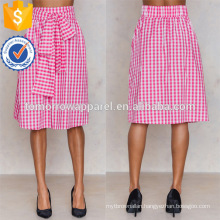Hot Sale A-Line Pink And White Gingham Tie Waist Midi Summer Skirt Manufacture Wholesale Fashion Women Apparel (TA0045S)