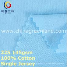 Tela hecha punto solo algodón del algodón para la camisa de la ropa (GLLML377)