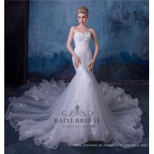 3d flor laço império sexy sereia vestido de noiva