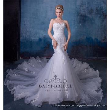 3D Blume Spitze Reich Sexy Meerjungfrau Hochzeitskleid