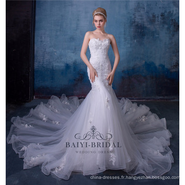 Robe de mariée sirène sexy en dentelle avec dentelle