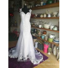 Sweetheart neckline Shoulder-straps sleeveless wedding dress bridal gown P110