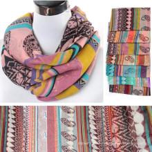 Moda cómoda bastante longitud apropiada mujeres pasiely impreso floral gasa bufanda infinito pañuelo al por mayor