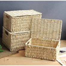 (BC-CB1003) High Quality Handmade Natural Cornhusk Basket