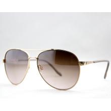 Mode Retro einfache polarisierte Metall Sonnenbrillen für Damen (14129)