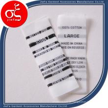 Etiqueta de tecido de cetim branco personalizada / etiqueta de lavagem