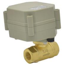 Dn8 Válvulas de bola de latón de 1/4 '' 2 vías Mini válvula eléctrica de DC5V / 12V / 24V