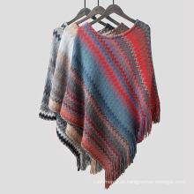 Cashmere de malha suave das mulheres como envoltório arco-íris borla borda camisola poncho xaile (sp604)