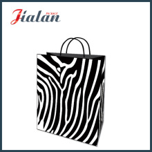 Papel Kraft preto Zebra Stripes Printed Shopping Gift Paper Bag