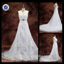 Wholesale 2014 Melting Sexy Diamond Sash Sheath V-Neck Applique A-line With Chapel Train ball wedding dresses