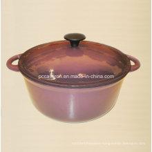 Purple Enamel Round Cast Iron Casserole Dia 28cm