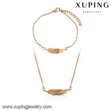 64106-Xuping à la mode 18k forme de plume ensemble de bijoux à Guangzhou