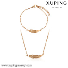 64106-Xuping Fashionable 18k feather shape set jewelry in guangzhou