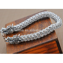 chinese antique chunky dragon 925 sterling silver bracelet