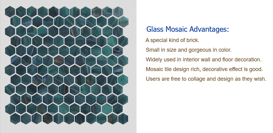 Hexagonal glass mosaic tiles for interior decoration