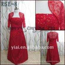 Fabricantes diretos RSE-8 De alta qualidade 2011 Lace vermelho lindo Paillette brilhante com jaqueta Mãe personalizada real de vestido de noiva