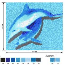 Dolphin Swimming Pool Patttern Imagen Mosaico De Cristal De Pescado
