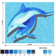 Dolphin Swimming Pool Patttern Picture Mosaico de vidro de peixe