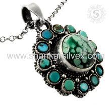 Fluorescence turquoise silver pendant handmade jewelry 925 sterling silver gemstone jewelry jaipur exporters