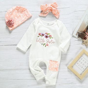 Solid Color Printed Letter Jumpsuit Baby Ropmer Crawling Suit