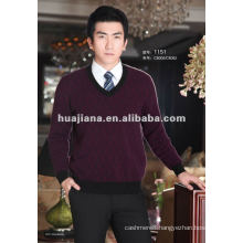 Luxury men's v neck pure Cashmere sweater