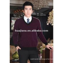 Роскошные мужская V шеи чистый кашемир свитер