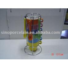 Tasse en céramique avec cuillère et étagère en métal argenté pour BS09003