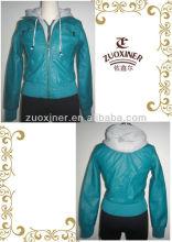 Popular woman malange fleece hoody PU jacket ,zip clousure leather jacket