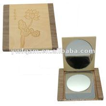 espejo compacto de madera plegable