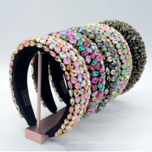 UNIQ Handmade Baroque Boho Rhinestone Headband Soft Velvet Padded Lining Hair Hoop Bridal Elegant Wedding Wide Accessories